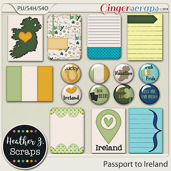 Passport to Ireland JOURNAL CARDS & FLAIRS by Heather Z Scraps