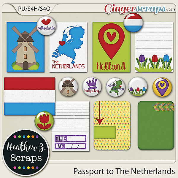 Passport to The Netherlands JOURNAL CARDS & FLAIRS by Heather Z Scraps