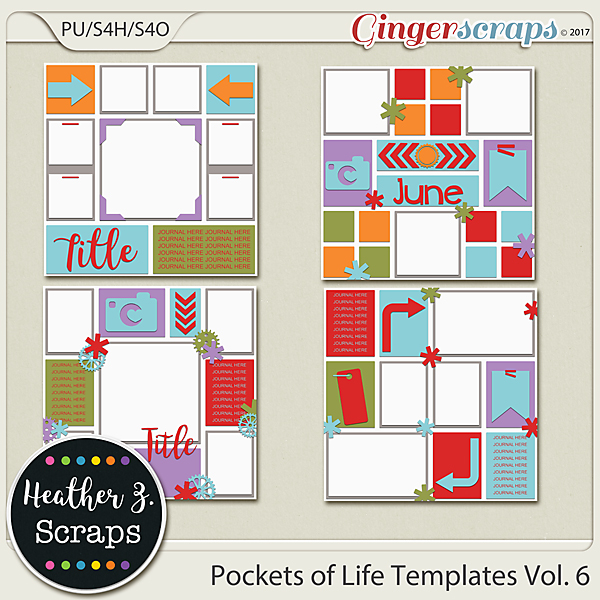 Pockets of Life TEMPLATES Vol. 6 by Heather Z Scraps