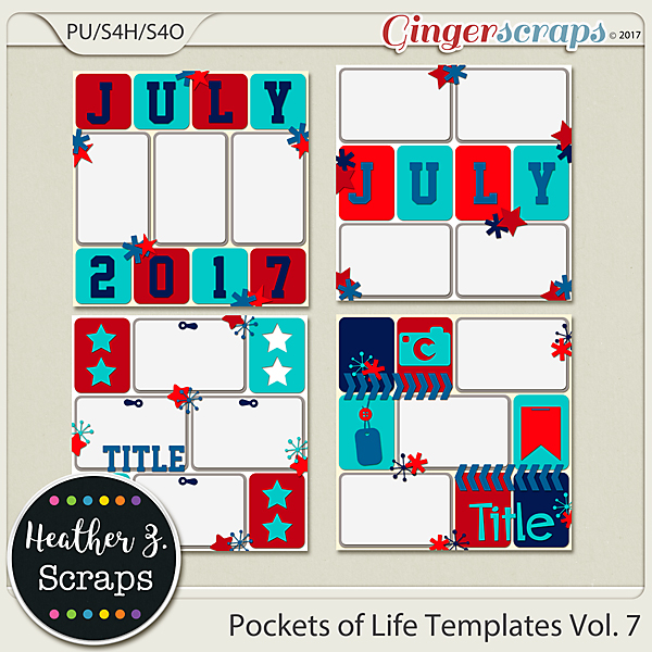 Pockets of Life TEMPLATES Vol. 7 by Heather Z Scraps