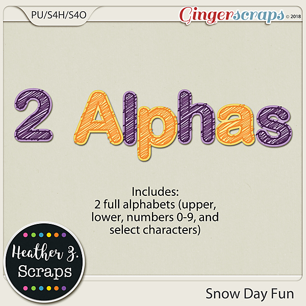 Snow Day Fun ALPHABETS by Heather Z Scraps