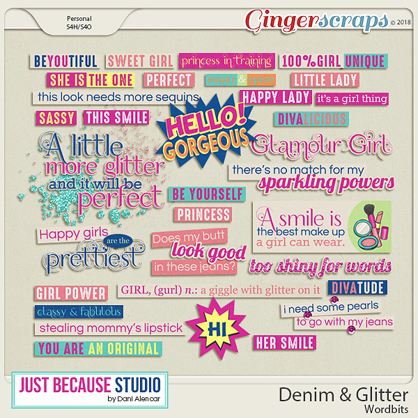 Denim & Glitter Wordbits by JB Studio