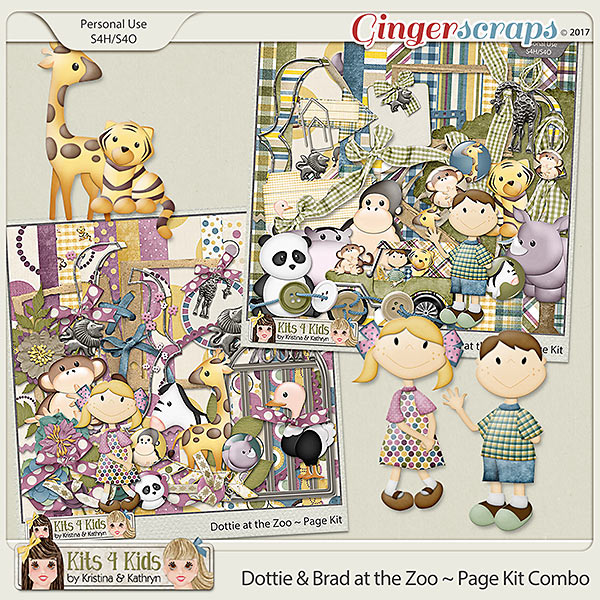 Dottie & Brad at the Zoo Page Kit Combo by K4K