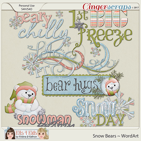 Snow Bears WordArt by K4K