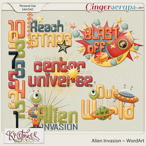 Alien Invasion WordArt Clusters