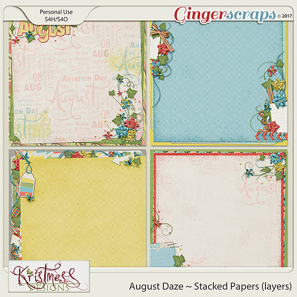 August Daze Stacked Papers (layers)