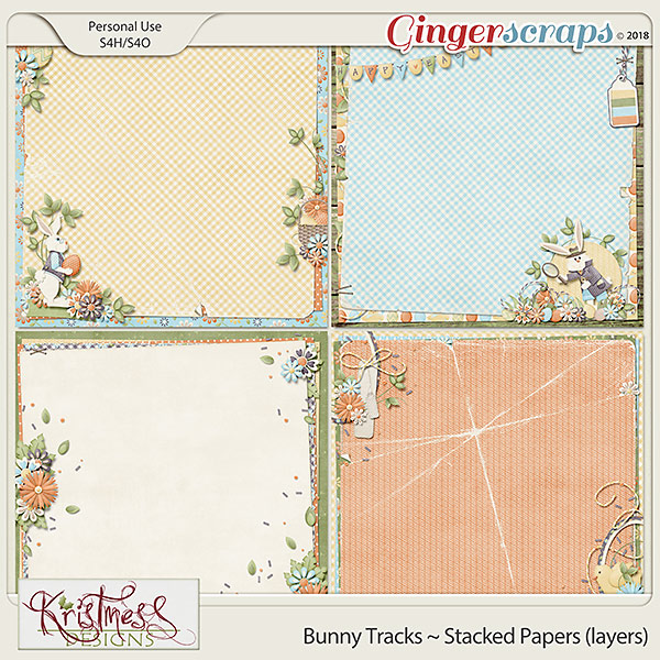 Bunny Tracks Stacked Papers (layers)