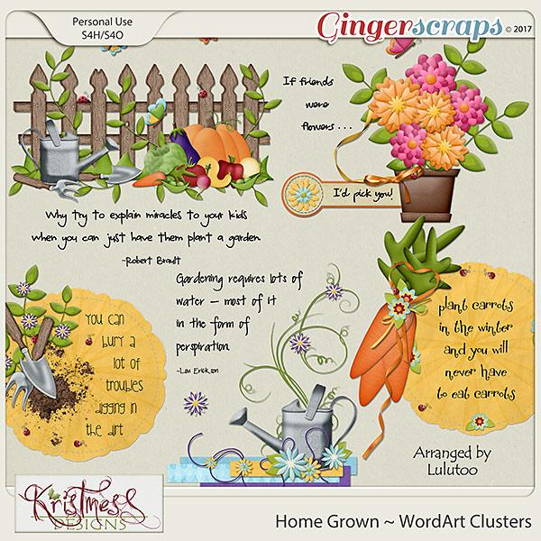 Home Grown WordArt Clusters