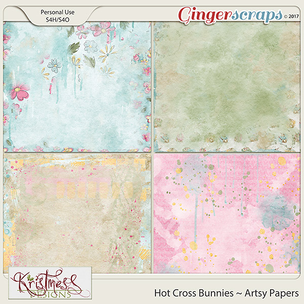 Hot Cross Bunnies Artsy Papers