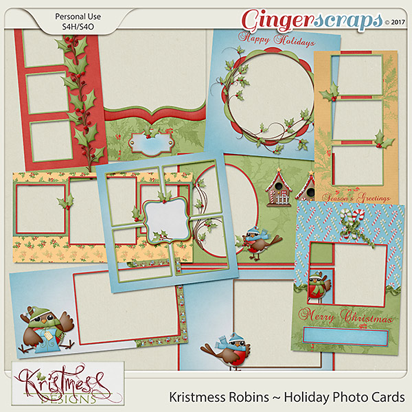 Kristmess Robins Holiday Photo Cards