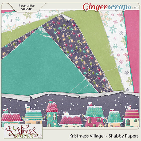 Kristmess Village Shabby Papers