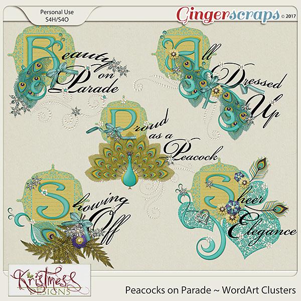 Peacocks on Parade WordArt Clusters
