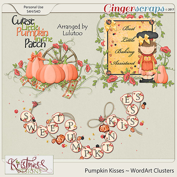 Pumpkin Kisses WordArt Clusters