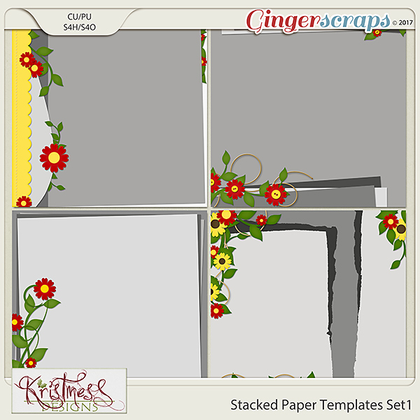 Stacked Paper Templates Set 1