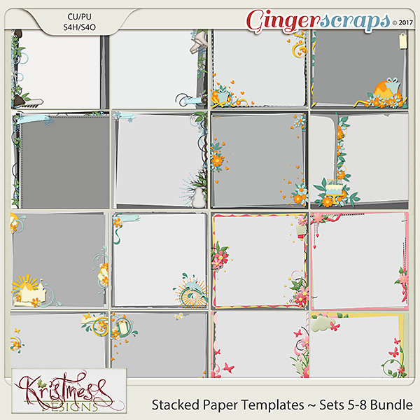 Stacked Paper Templates Sets 5-8 Bundle