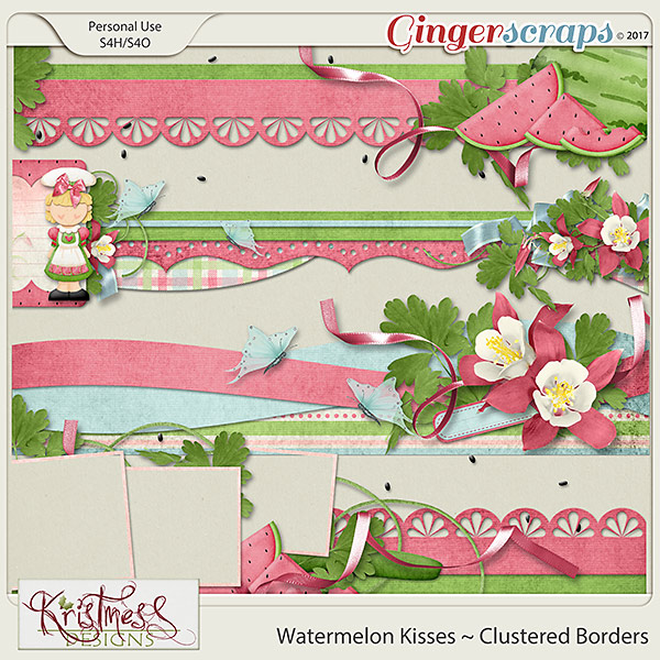 Watermelon Kisses Clustered Borders