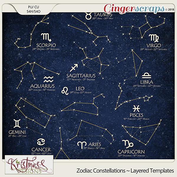 CU Zodiac Constellations Layered Template