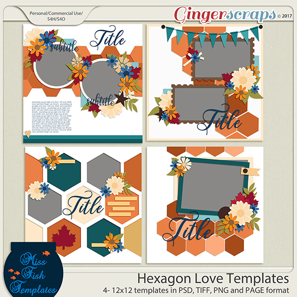 Hexagon Love Templates by Miss Fish Templates