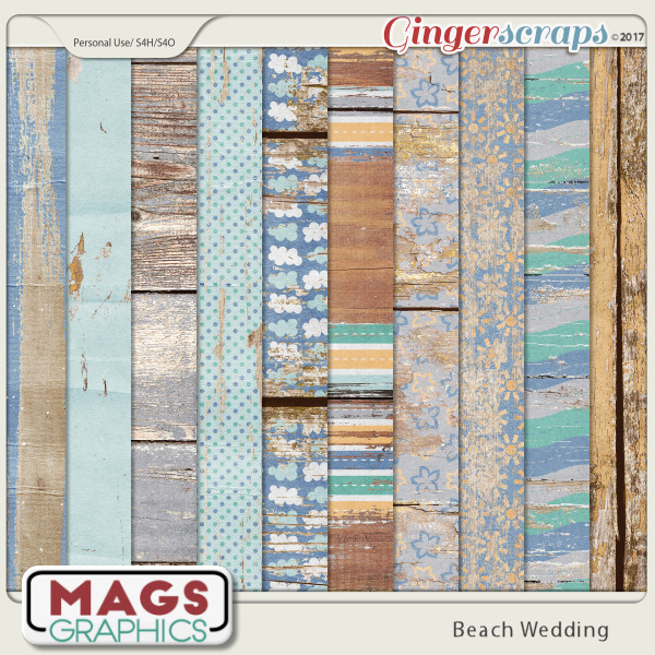 Beach Wedding WOOD PAPERS by MagsGraphics
