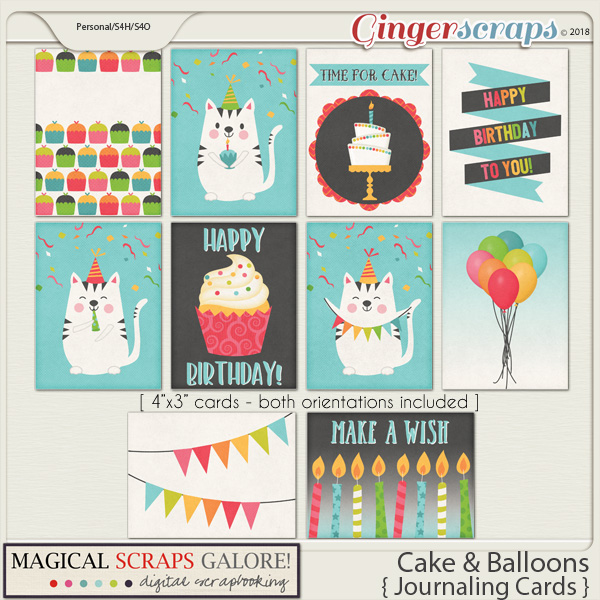 Cake & Balloons (journaling cards)