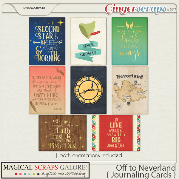 Off To Neverland (journaling cards)