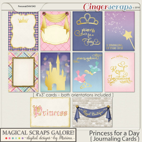 Princess for a Day (journaling cards)