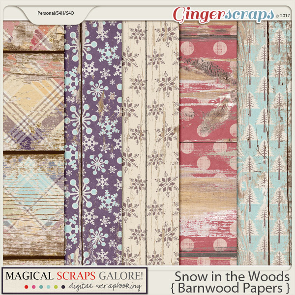 Snow in the Woods (barnwood papers)
