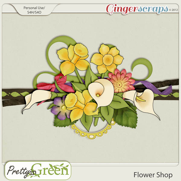 GingerScraps FlowerShop: Pretty in Green Flower Shop