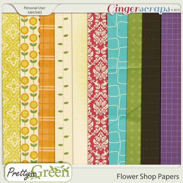 GingerScraps FlowerShop: Pretty in Green Flower Shop papers