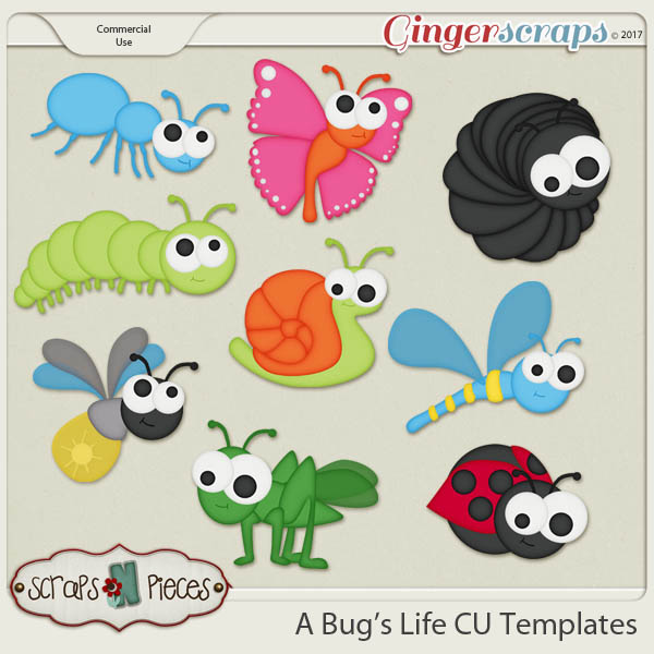 A Bug's Life CU Layered Templates - Scraps N Pieces