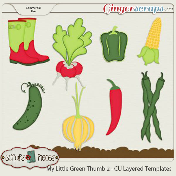 My Little Green Thumb CU Layered Templates 2 - Scraps N Pieces