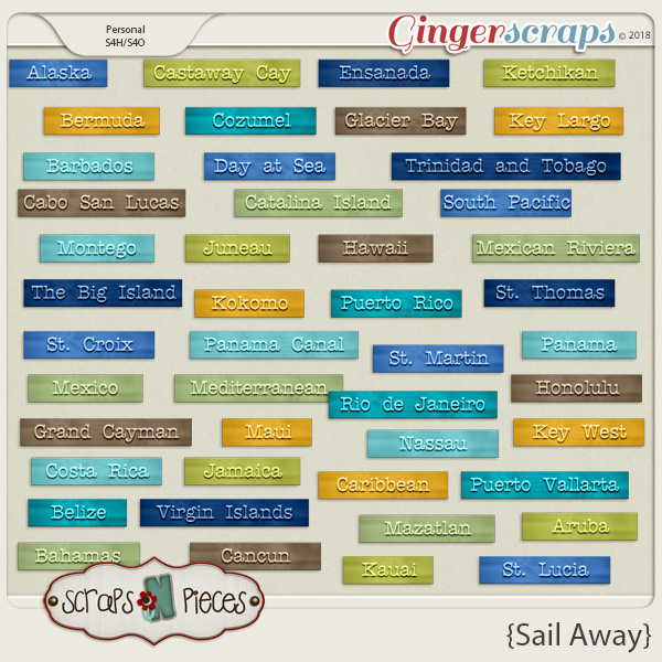 Sail Away Word Bits by Scraps N Pieces