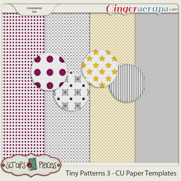 Tiny Patterns 3 CU Paper Templates - Scraps N Pieces