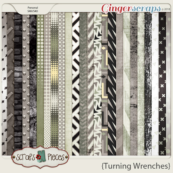 Turning Wrenches Patterned Papers by Scraps N Pieces