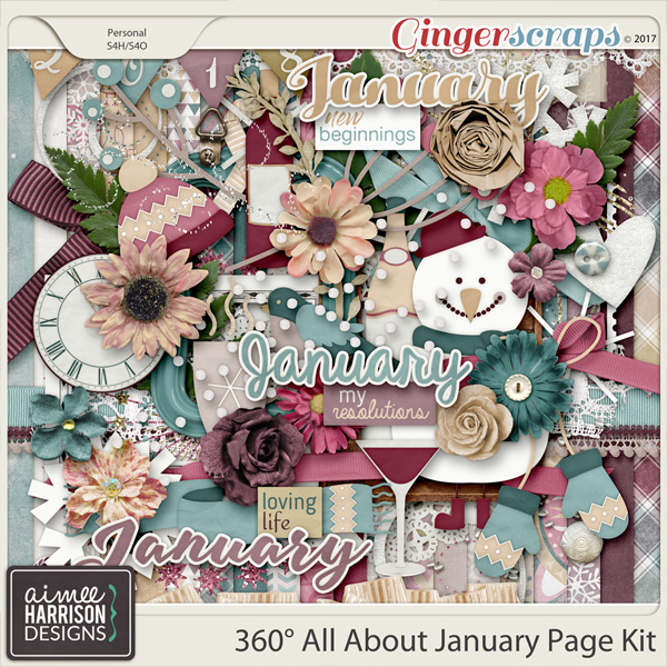 360° All About January Page Kit by Aimee Harrison