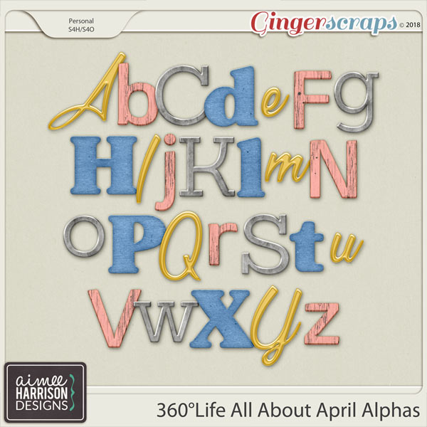 360°Life All About April Alpha Sets by Aimee Harrison
