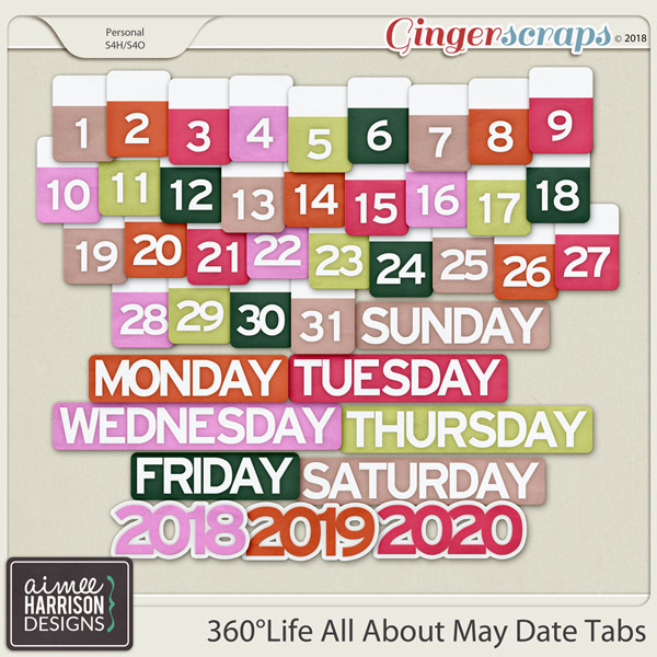 360°Life All About May Date Tabs by Aimee Harrison