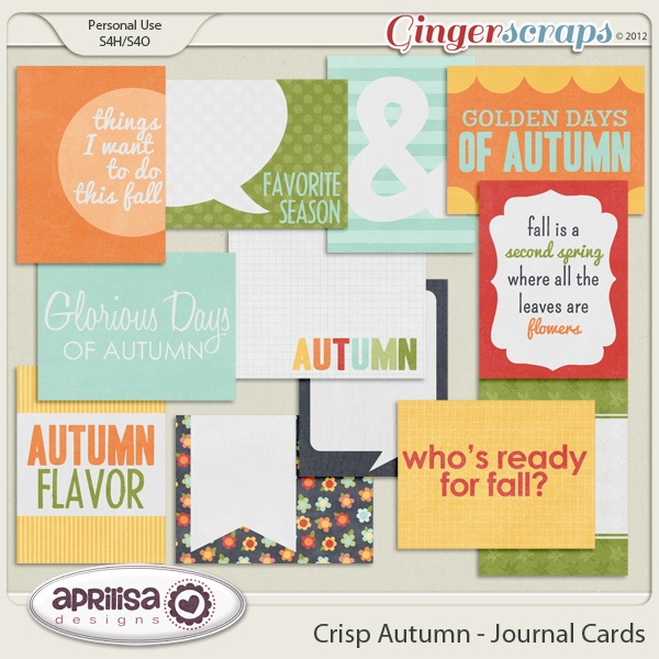 Crisp Autumn Journal Cards by Aprilisa Designs