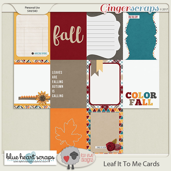 Leaf It To Me Journal Cards By Luv Ewe Designs and Blue Heart Scraps