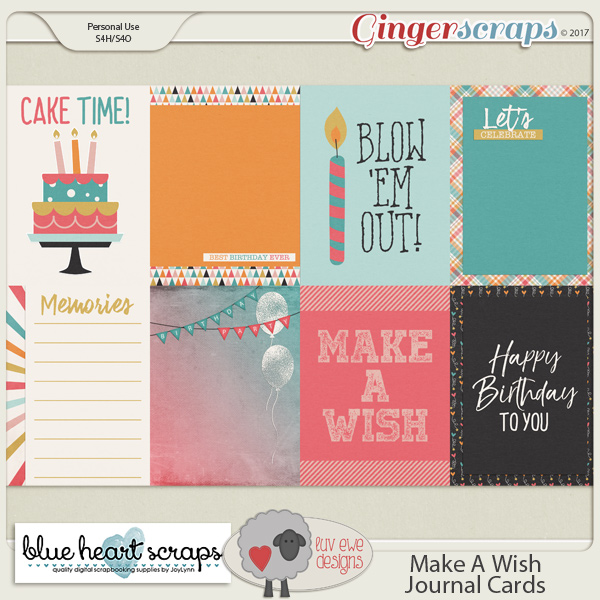 Make A Wish Journal Cards By Luv Ewe Designs and Blue Heart Scraps