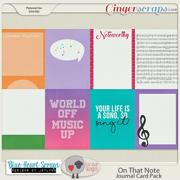 On That Note Journal Cards by Luv Ewe Designs and Blue Heart Scraps