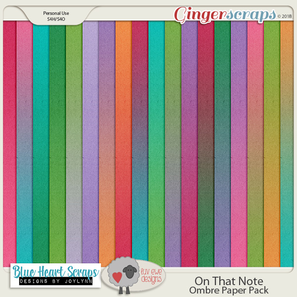 On That Note Ombre Papers by Luv Ewe Designs and Blue Heart Scraps