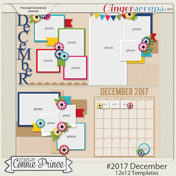 #2017 December - 12x12 Template Pack (CU Ok) by Connie Prince