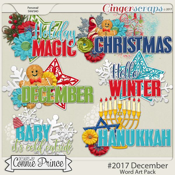 #2017 December - Word Art Pack by Connie Prince