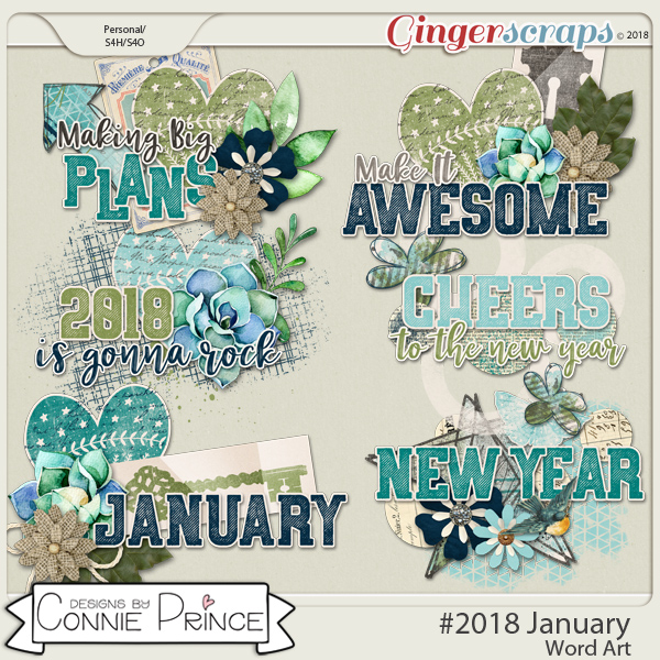 #2018 January - Word Art Pack by Connie Prince