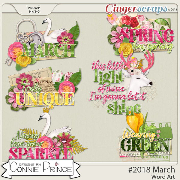 #2018 March - Word Art Pack by Connie Prince