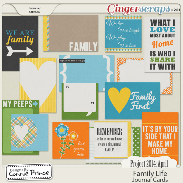 Project 2014 April:  Family Life - Journal Cards