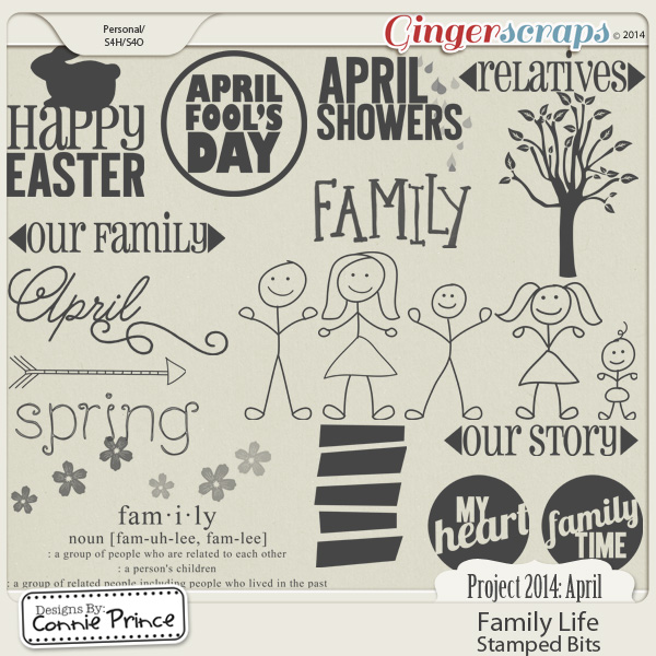 Project 2014 April:  Family Life - Stamped Bits