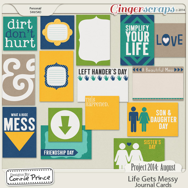 Project 2014 August: Life Gets Messy - Journal Cards