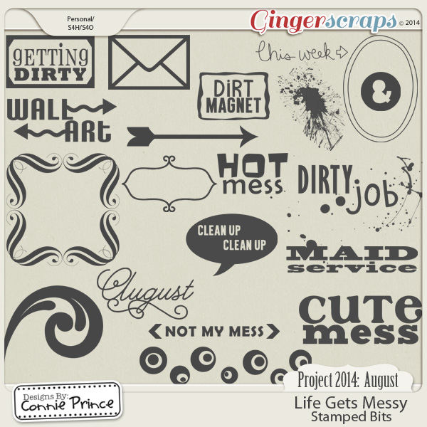 Project 2014 August: Life Gets Messy - Stamped Bits